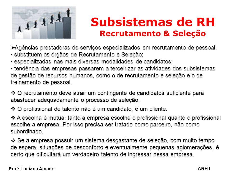 Profª Luciana Amado ARH I Subsistemas de RH Recrutamento & Seleção Agências prestadoras de serviços especializados em recrutamento de pessoal: Agência