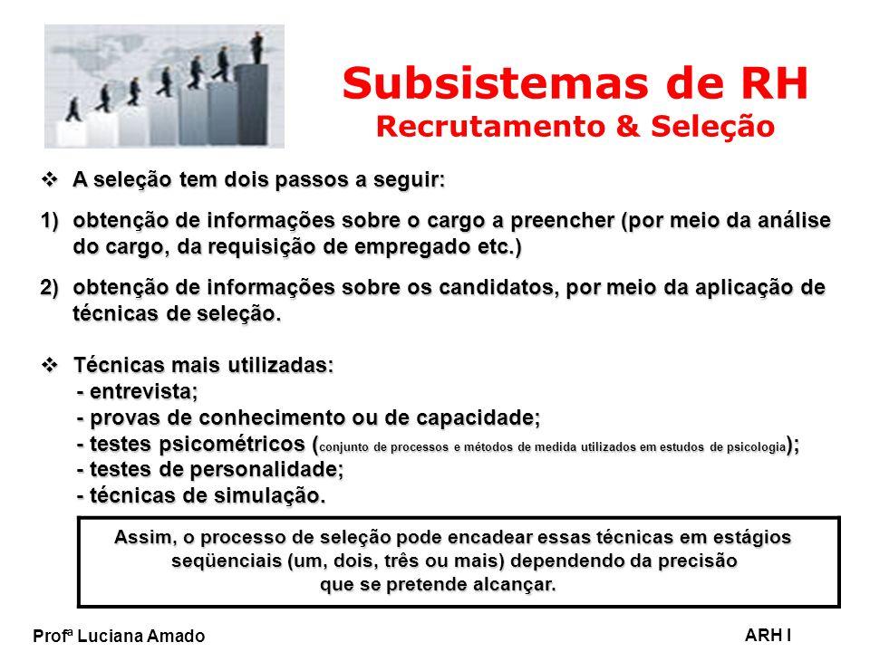 Profª Luciana Amado ARH I Subsistemas de RH Recrutamento & Seleção A seleção tem dois passos a seguir: A seleção tem dois passos a seguir: 1)obtenção