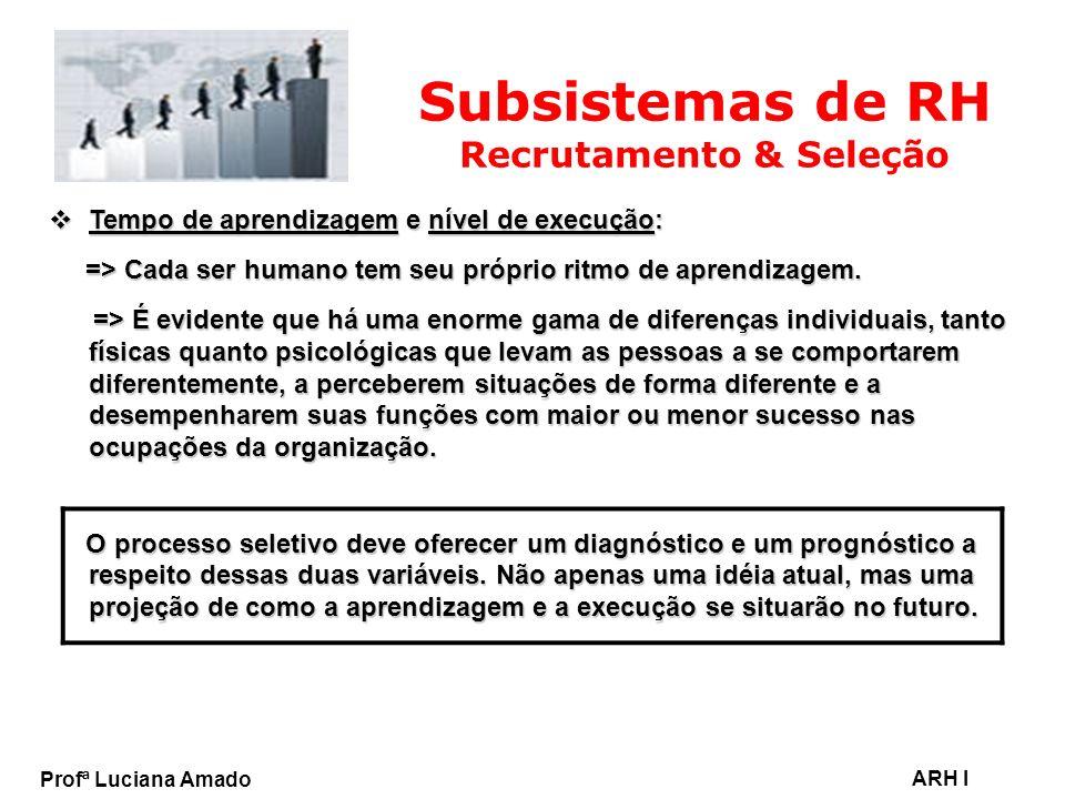 Profª Luciana Amado ARH I Subsistemas de RH Recrutamento & Seleção Tempo de aprendizagem e nível de execução: Tempo de aprendizagem e nível de execuçã