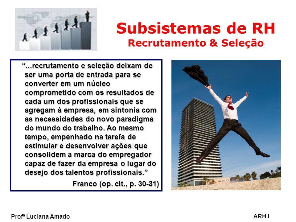 Profª Luciana Amado ARH I Subsistemas de RH Recrutamento & Seleção...recrutamento e seleção deixam de ser uma porta de entrada para se converter em um