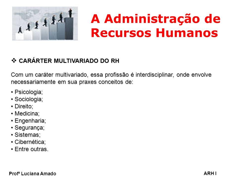 Profª Luciana Amado ARH I A Administração de Recursos Humanos CARÁRTER MULTIVARIADO DO RH CARÁRTER MULTIVARIADO DO RH Com um caráter multivariado, ess