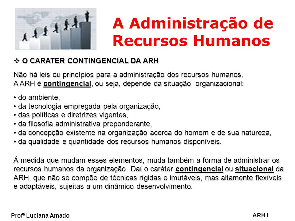 Profª Luciana Amado ARH I A Administração de Recursos Humanos O CARATER CONTINGENCIAL DA ARH O CARATER CONTINGENCIAL DA ARH Não há leis ou princípios