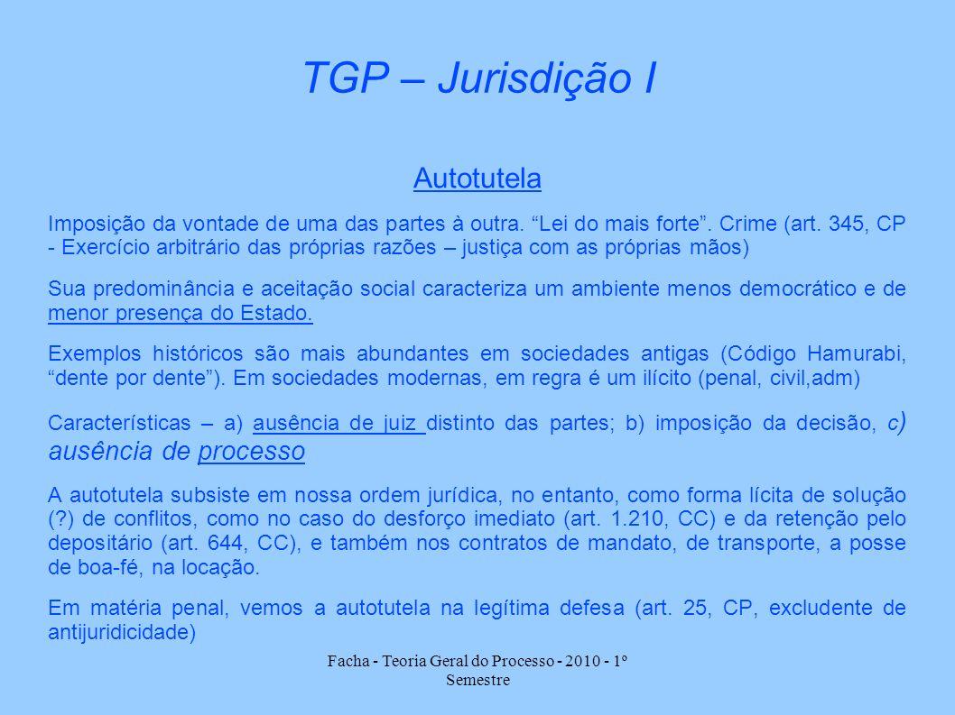 Facha - Teoria Geral do Processo - 2010 - 1º Semestre TGP – Jurisdição I Autotutela Imposição da vontade de uma das partes à outra. Lei do mais forte.
