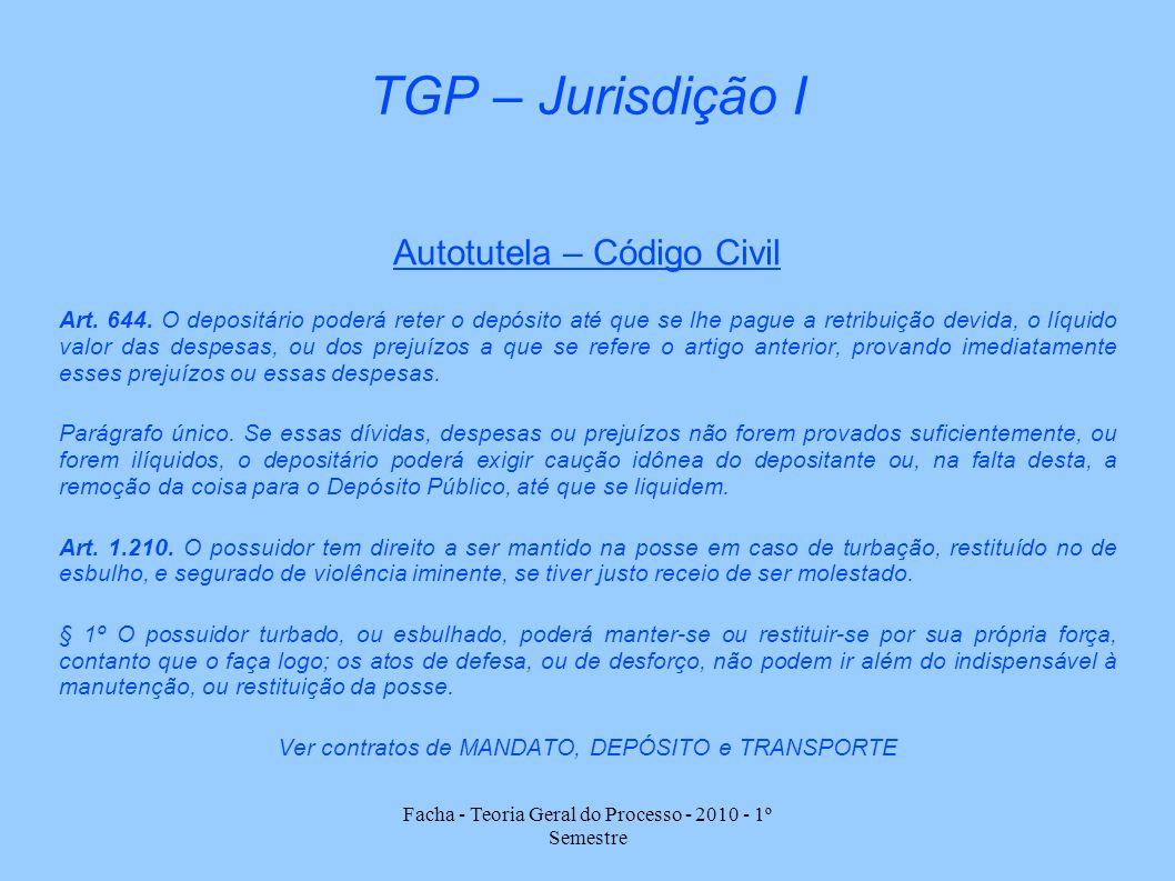 Facha - Teoria Geral do Processo - 2010 - 1º Semestre TGP – Jurisdição I Autotutela – Código Civil Art. 644. O depositário poderá reter o depósito até
