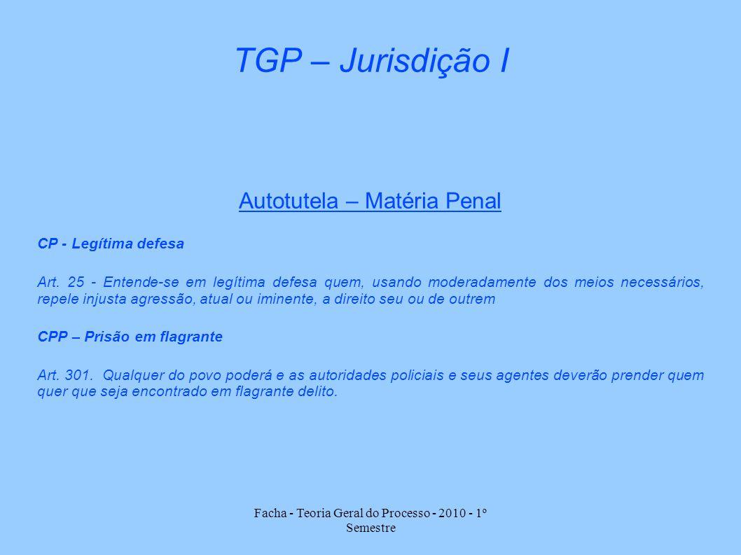 Facha - Teoria Geral do Processo - 2010 - 1º Semestre TGP – Jurisdição I Autotutela – Matéria Penal CP - Legítima defesa Art. 25 - Entende-se em legít