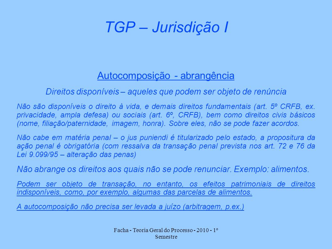 Facha - Teoria Geral do Processo - 2010 - 1º Semestre TGP – Jurisdição I Autocomposição - abrangência Direitos disponíveis – aqueles que podem ser obj