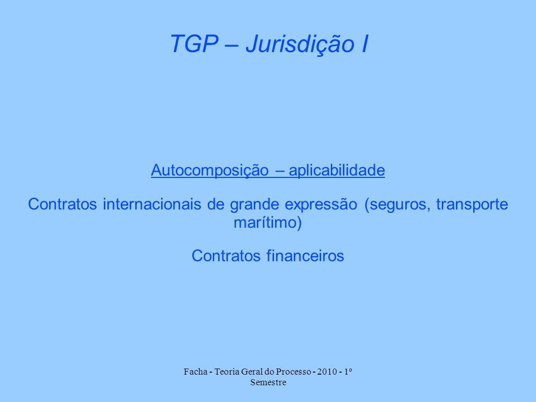 Facha - Teoria Geral do Processo - 2010 - 1º Semestre TGP – Jurisdição I Autocomposição – aplicabilidade Contratos internacionais de grande expressão