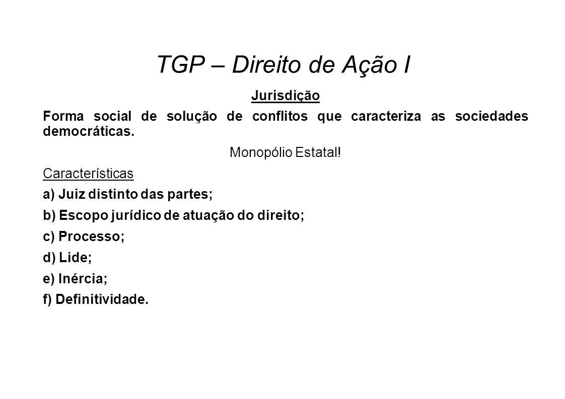 TGP – Direito de Ação I Jurisdição Forma social de solução de conflitos que caracteriza as sociedades democráticas. Monopólio Estatal! Características