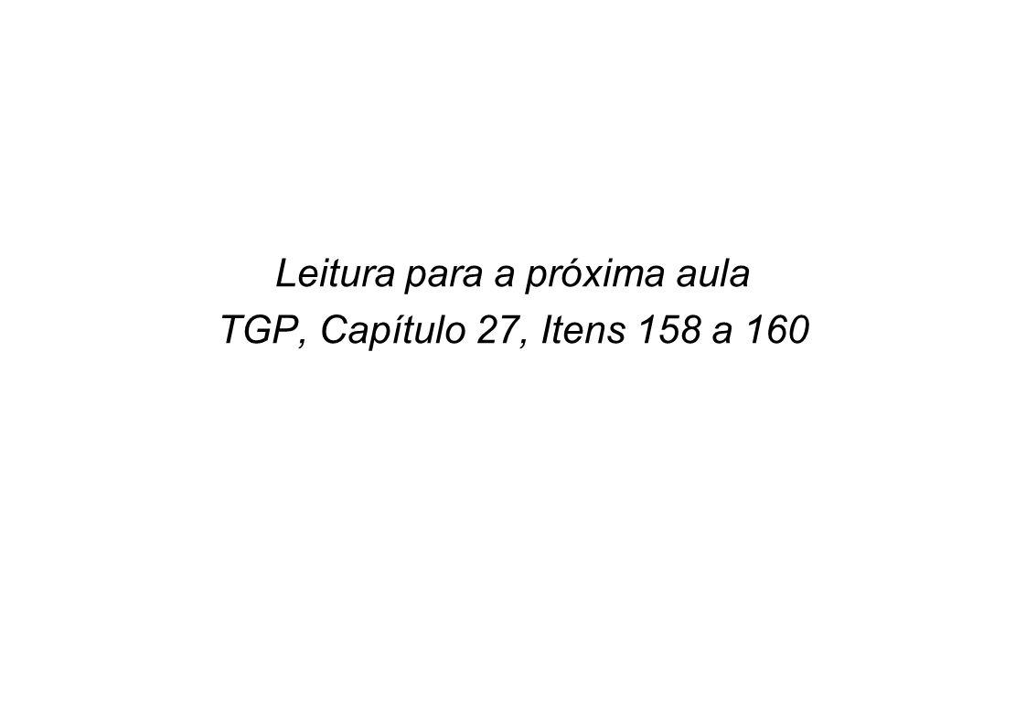 Leitura para a próxima aula TGP, Capítulo 27, Itens 158 a 160