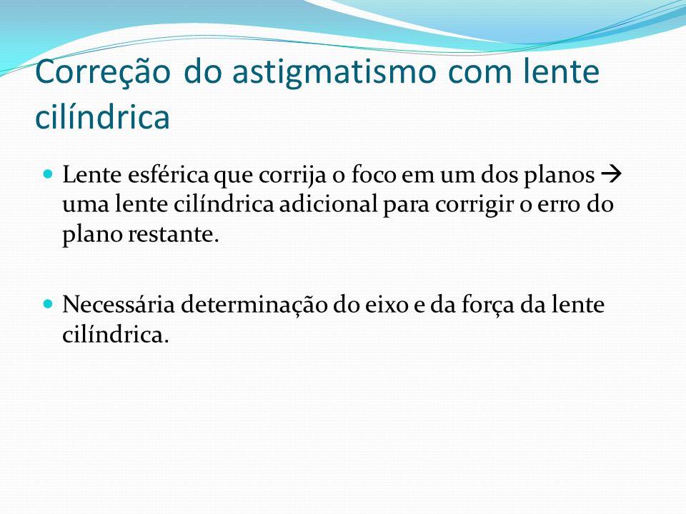 Correção do astigmatismo com lente cilíndrica Lente esférica que corrija o foco em um dos planos uma lente cilíndrica adicional para corrigir o erro d