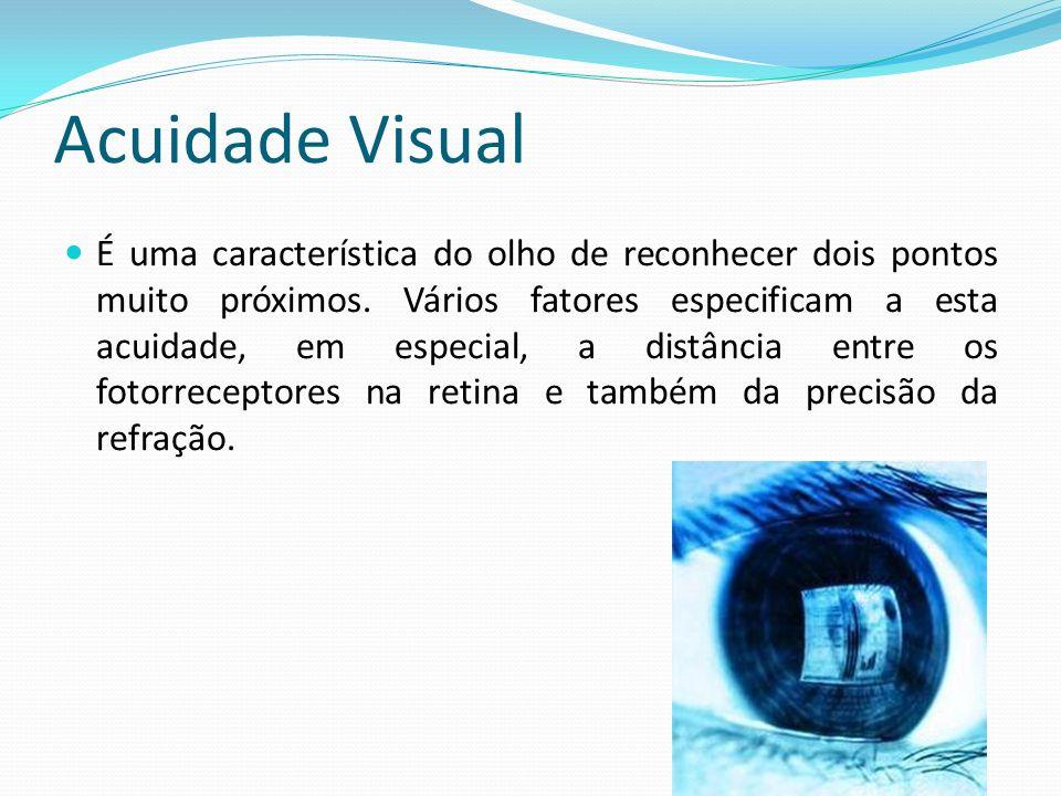 Acuidade Visual É uma característica do olho de reconhecer dois pontos muito próximos. Vários fatores especificam a esta acuidade, em especial, a dist