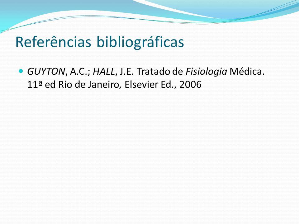 Referências bibliográficas GUYTON, A.C.; HALL, J.E. Tratado de Fisiologia Médica. 11ª ed Rio de Janeiro, Elsevier Ed., 2006