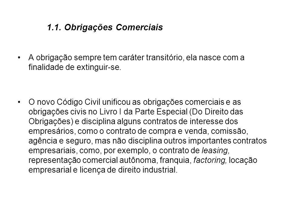 1.1.Obrigações Comerciais Não difere, com efeito, essencialmente, a obrigação comercial da civil.