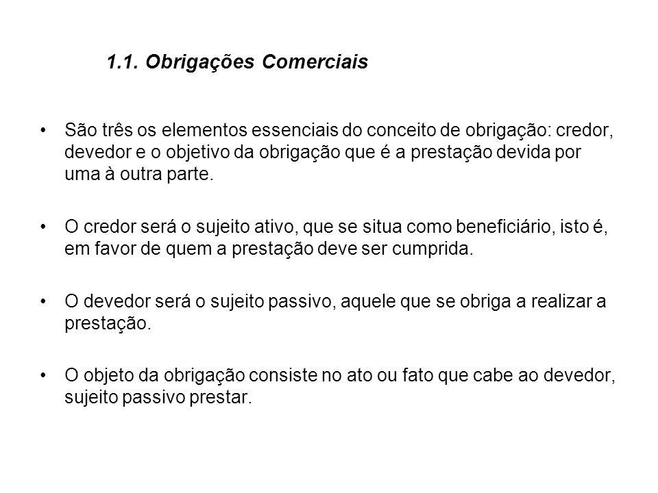 1.1. Obrigações Comerciais São três os elementos essenciais do conceito de obrigação: credor, devedor e o objetivo da obrigação que é a prestação devi