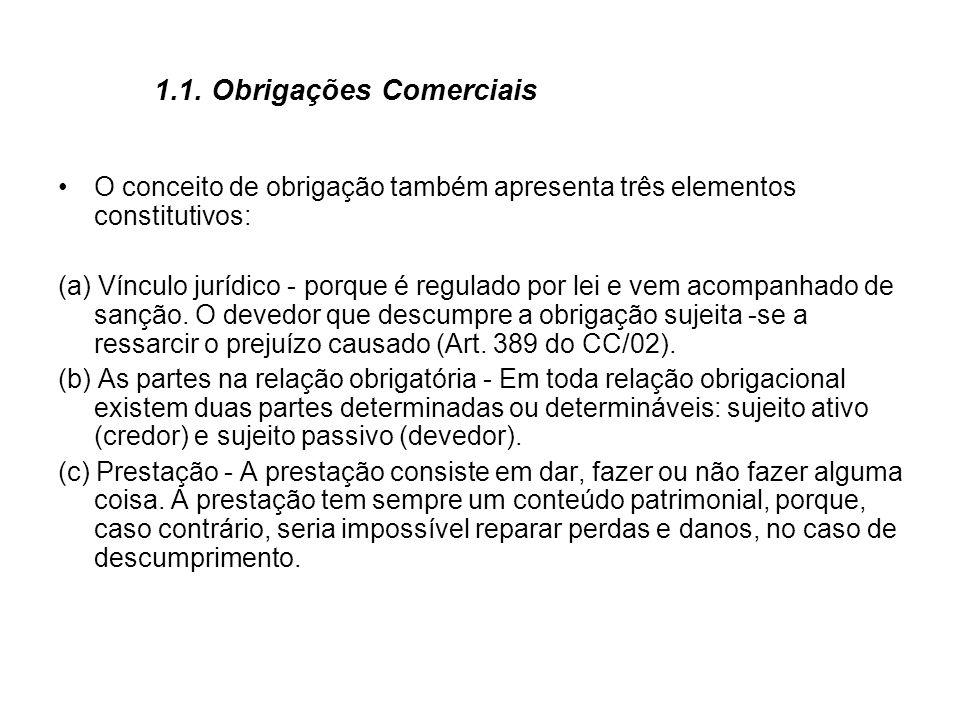 1.1. Obrigações Comerciais O conceito de obrigação também apresenta três elementos constitutivos: (a) Vínculo jurídico - porque é regulado por lei e v