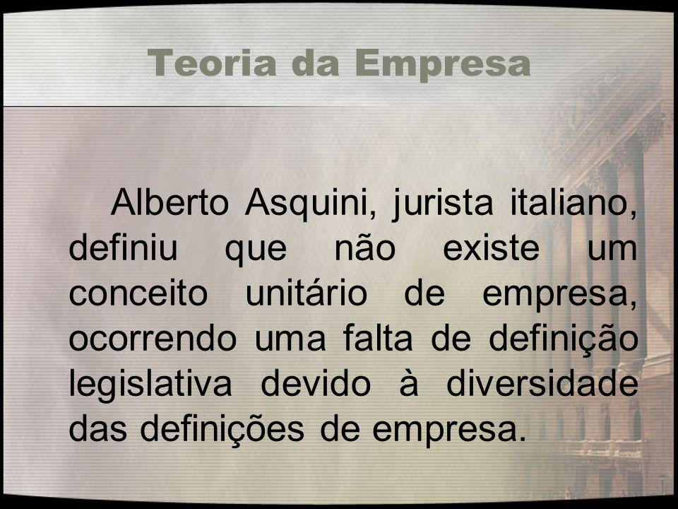 Teoria da Empresa Alberto Asquini, jurista italiano, definiu que não existe um conceito unitário de empresa, ocorrendo uma falta de definição legislat