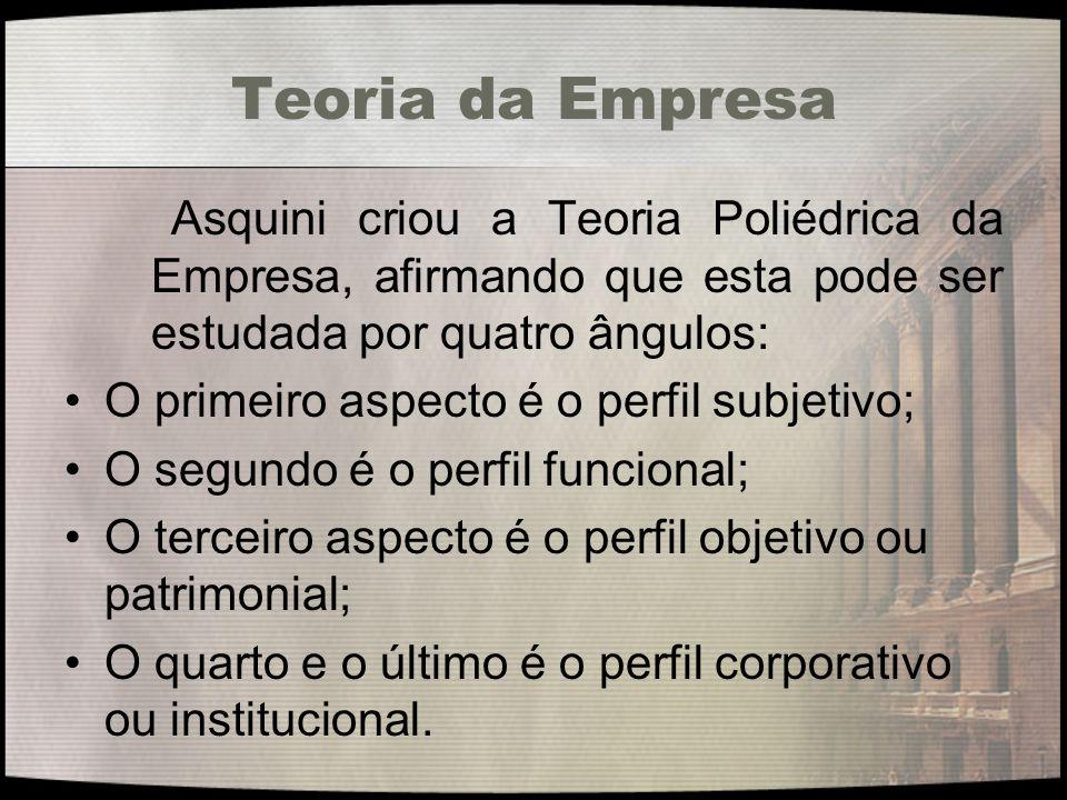 Teoria da Empresa Asquini criou a Teoria Poliédrica da Empresa, afirmando que esta pode ser estudada por quatro ângulos: O primeiro aspecto é o perfil