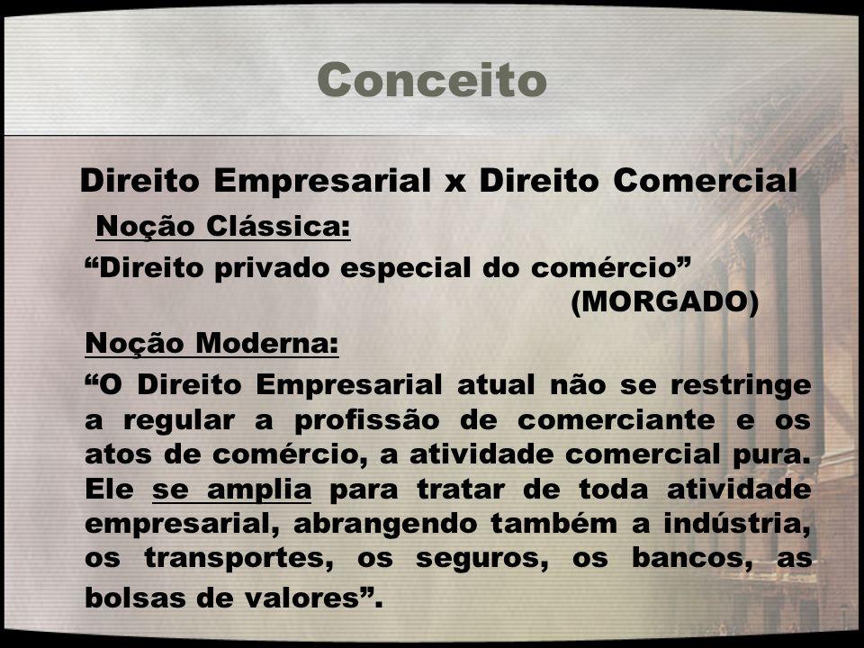 Conceito Direito Empresarial x Direito Comercial Noção Clássica: Direito privado especial do comércio (MORGADO) Noção Moderna: O Direito Empresarial a