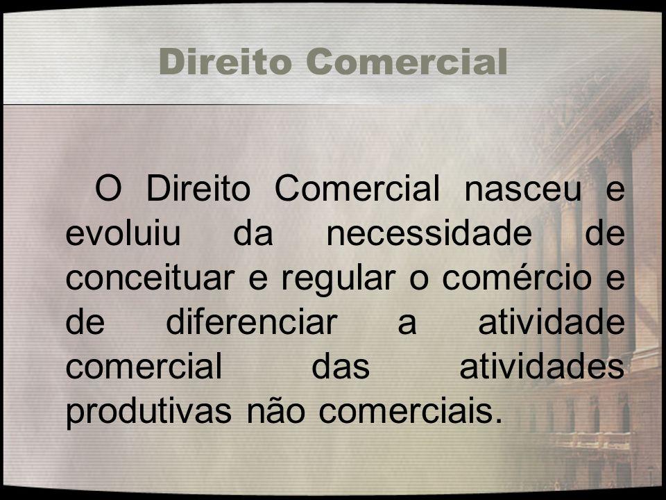 Direito Comercial O Direito Comercial nasceu e evoluiu da necessidade de conceituar e regular o comércio e de diferenciar a atividade comercial das at
