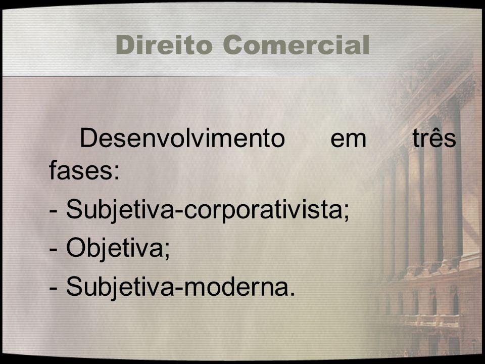 Direito Comercial A primeira fase, conhecida como subjetiva-corporativista, era caracterizada por uma tônica subjetiva que ligava o mercador a uma corporação de ofício mercantil.