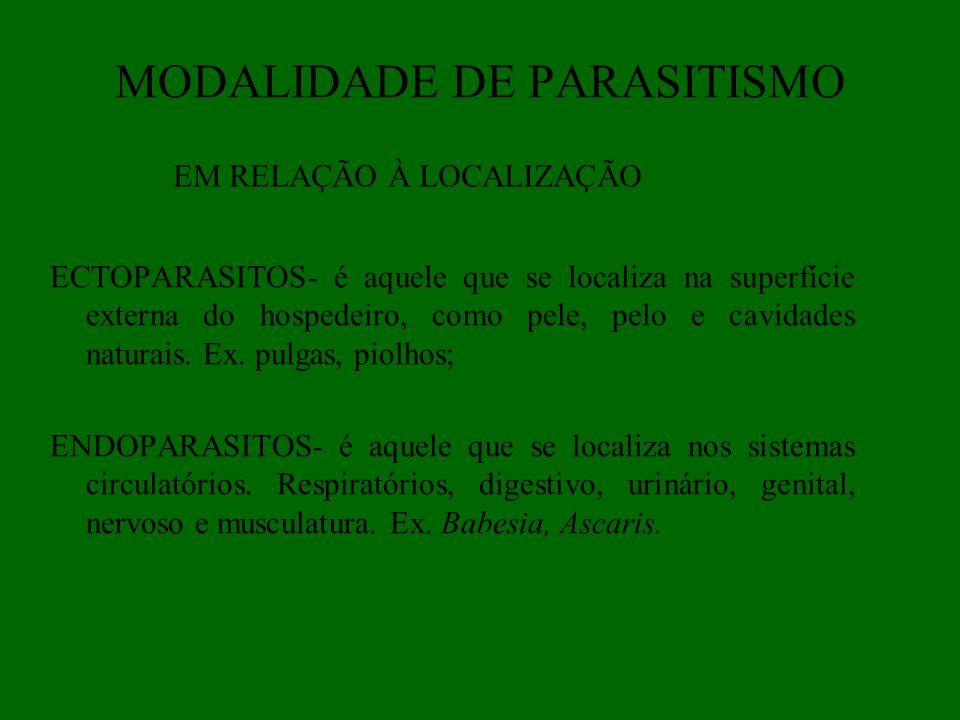 MODALIDADE DE PARASITISMO ECTOPARASITOS- é aquele que se localiza na superfície externa do hospedeiro, como pele, pelo e cavidades naturais. Ex. pulga
