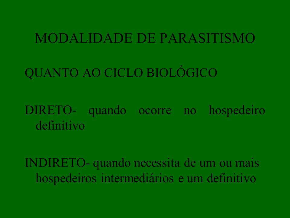 MODALIDADE DE PARASITISMO QUANTO AO CICLO BIOLÓGICO DIRETO- quando ocorre no hospedeiro definitivo INDIRETO- quando necessita de um ou mais hospedeiro