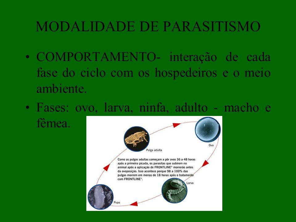 MODALIDADE DE PARASITISMO COMPORTAMENTO- interação de cada fase do ciclo com os hospedeiros e o meio ambiente. Fases: ovo, larva, ninfa, adulto - mach