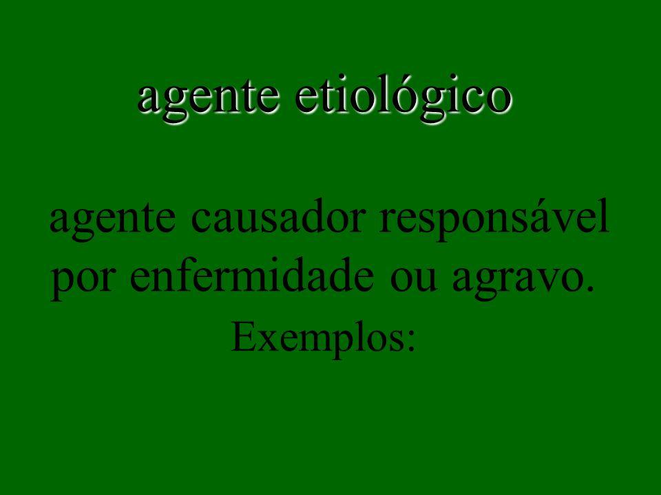 agente etiológico agente causador responsável por enfermidade ou agravo. Exemplos: