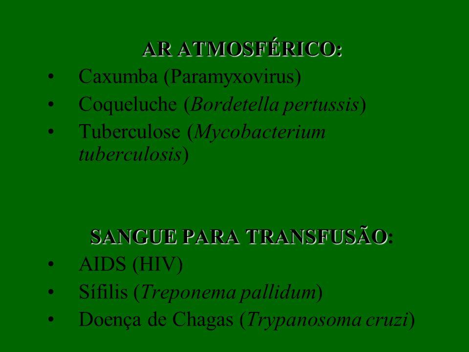 AR ATMOSFÉRICO: Caxumba (Paramyxovirus) Coqueluche (Bordetella pertussis) Tuberculose (Mycobacterium tuberculosis) SANGUE PARA TRANSFUSÃO SANGUE PARA