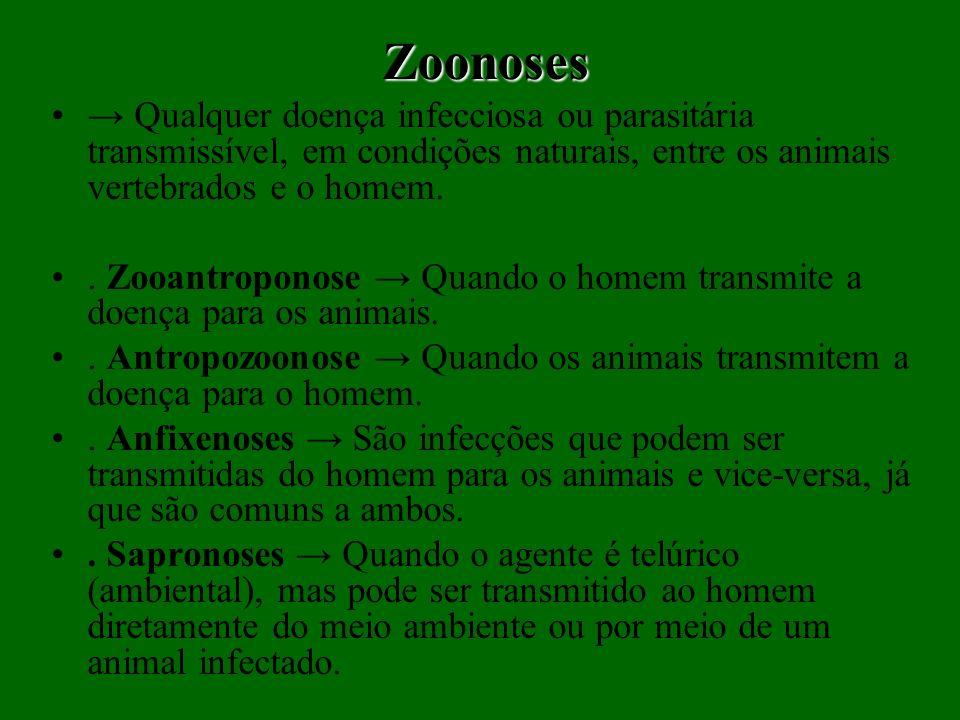 Zoonoses Qualquer doença infecciosa ou parasitária transmissível, em condições naturais, entre os animais vertebrados e o homem.. Zooantroponose Quand