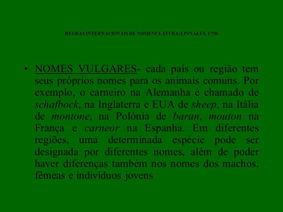 REGRAS INTERNACIONAIS DE NOMENCLATURA (LINNAEUS, 1758) NOMES VULGARES- cada país ou região tem seus próprios nomes para os animais comuns. Por exemplo
