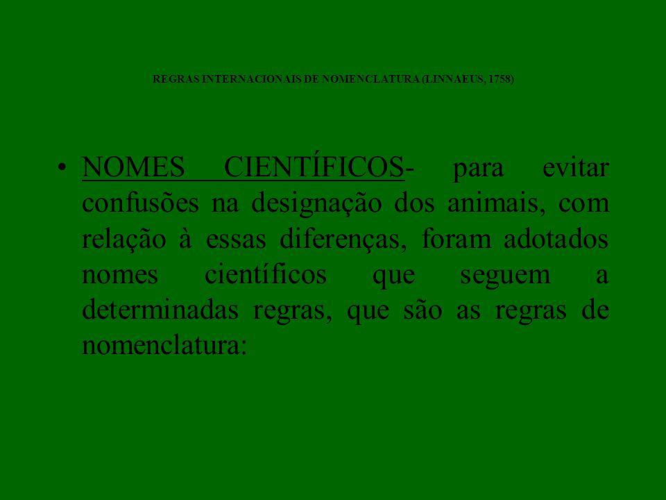 REGRAS INTERNACIONAIS DE NOMENCLATURA (LINNAEUS, 1758) NOMES CIENTÍFICOS- para evitar confusões na designação dos animais, com relação à essas diferen