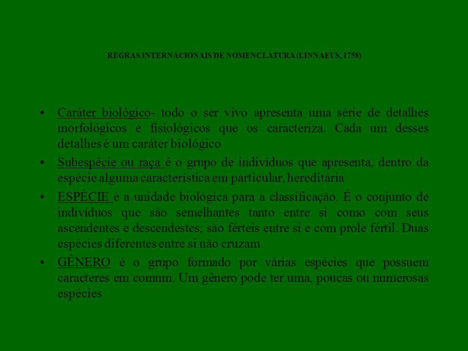 REGRAS INTERNACIONAIS DE NOMENCLATURA (LINNAEUS, 1758) Caráter biológico- todo o ser vivo apresenta uma série de detalhes morfológicos e fisiológicos