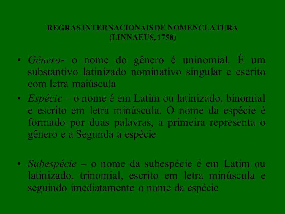 REGRAS INTERNACIONAIS DE NOMENCLATURA (LINNAEUS, 1758) Gênero- o nome do gênero é uninomial. É um substantivo latinizado nominativo singular e escrito