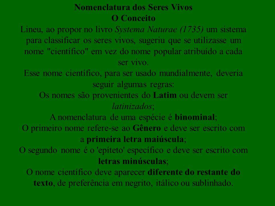 Nomenclatura dos Seres Vivos O Conceito Lineu, ao propor no livro Systema Naturae (1735) um sistema para classificar os seres vivos, sugeriu que se ut
