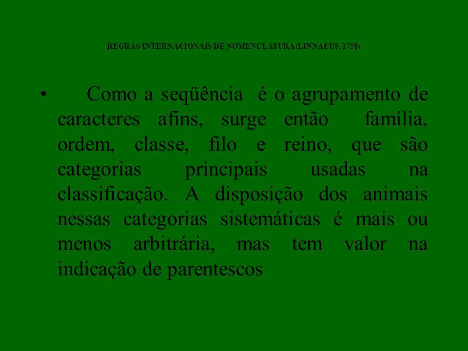 Como a seqüência é o agrupamento de caracteres afins, surge então família, ordem, classe, filo e reino, que são categorias principais usadas na classi