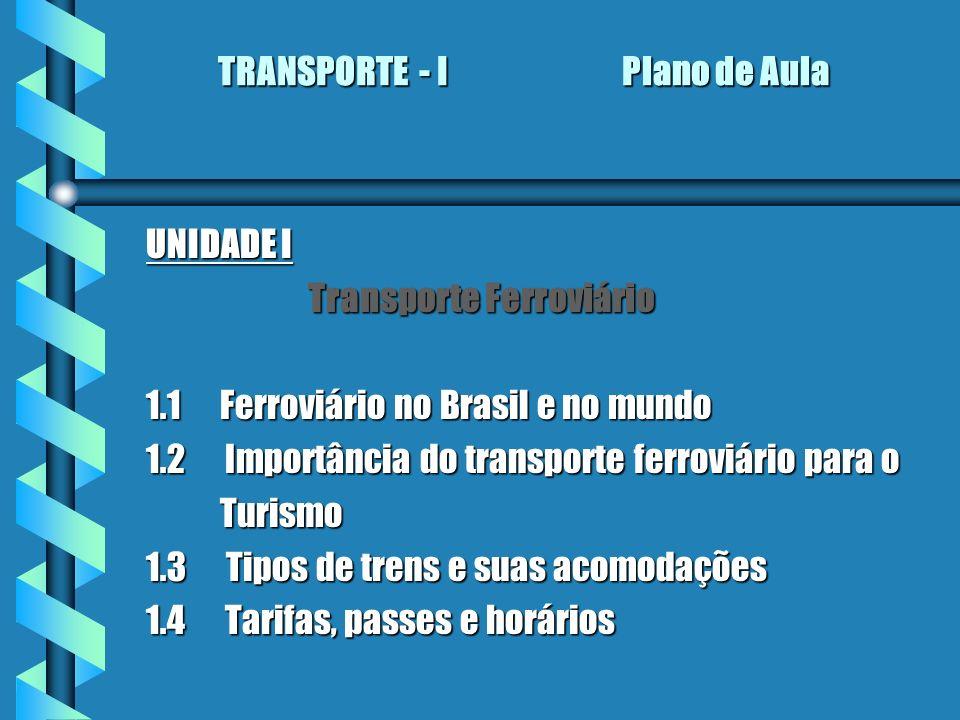 TRANSPORTE - I Plano de Aula TRANSPORTE - I Plano de Aula UNIDADE I Transporte Ferroviário Transporte Ferroviário 1.1 Ferroviário no Brasil e no mundo