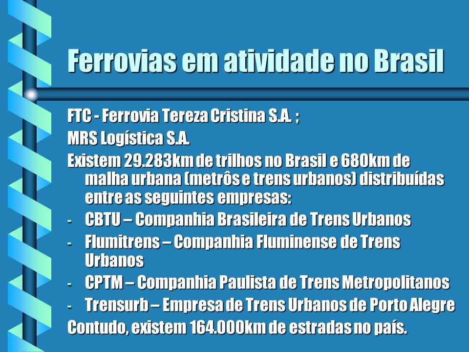 Ferrovias em atividade no Brasil FTC - Ferrovia Tereza Cristina S.A. ; MRS Logística S.A. Existem 29.283km de trilhos no Brasil e 680km de malha urban