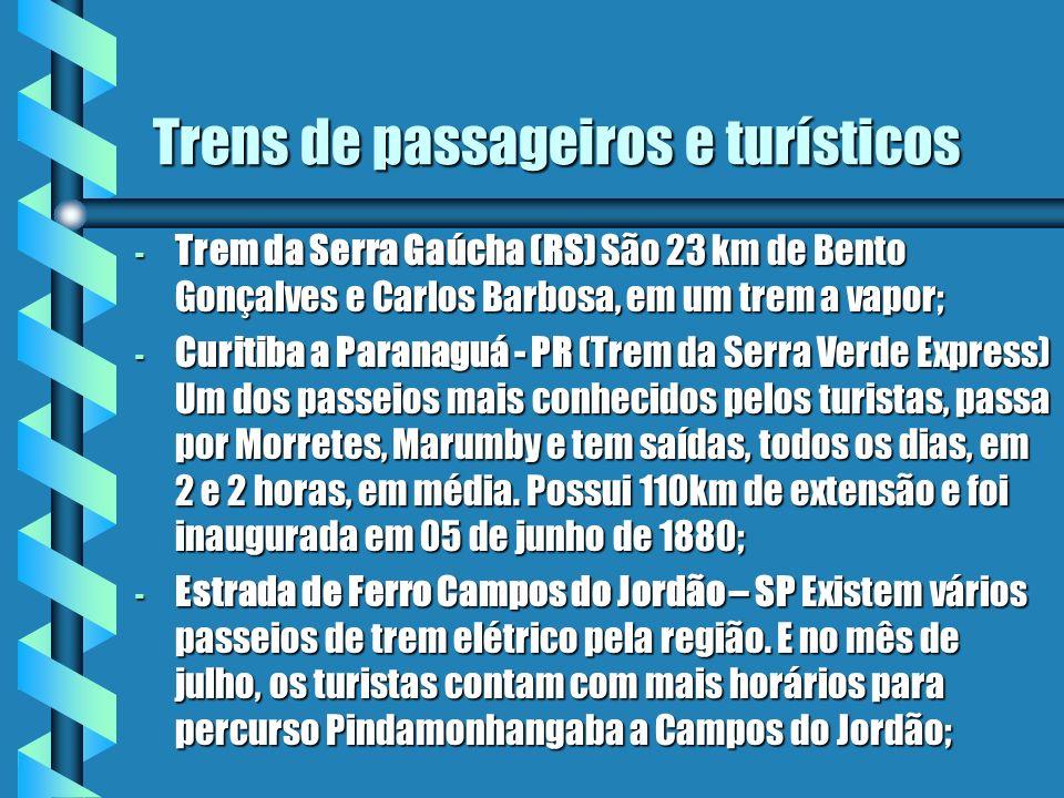 Trens de passageiros e turísticos - Trem da Serra Gaúcha (RS) São 23 km de Bento Gonçalves e Carlos Barbosa, em um trem a vapor; - Curitiba a Paranagu