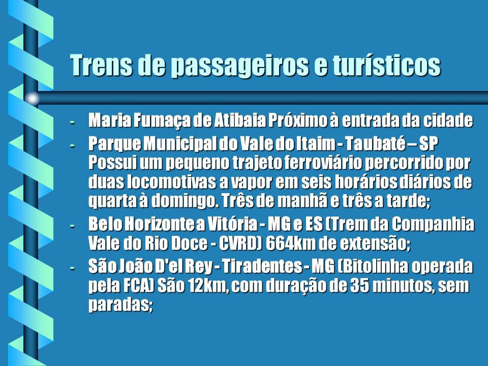 Trens de passageiros e turísticos - Maria Fumaça de Atibaia Próximo à entrada da cidade - Parque Municipal do Vale do Itaim - Taubaté – SP Possui um p