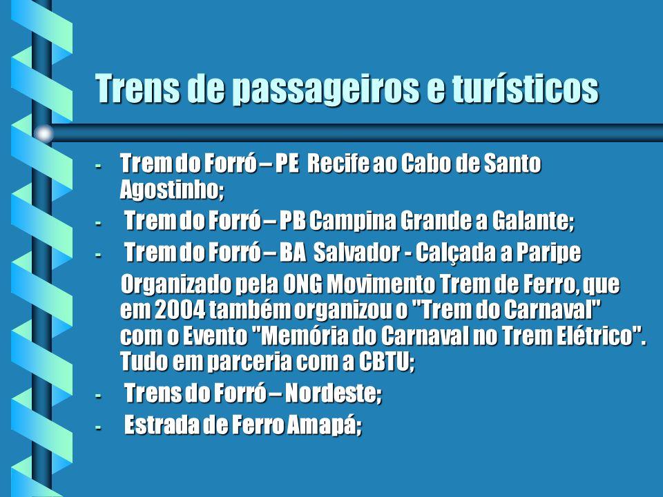 Trens de passageiros e turísticos - Trem do Forró – PE Recife ao Cabo de Santo Agostinho; - Trem do Forró – PB Campina Grande a Galante; - Trem do For