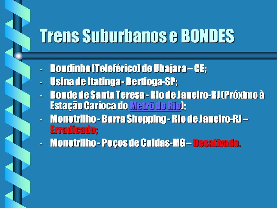 Trens Suburbanos e BONDES - Bondinho (Teleférico) de Ubajara – CE; - Usina de Itatinga - Bertioga-SP; - Bonde de Santa Teresa - Rio de Janeiro-RJ (Pró