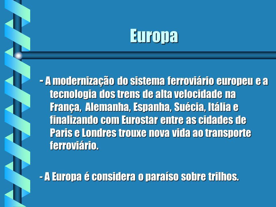 Europa - A modernização do sistema ferroviário europeu e a tecnologia dos trens de alta velocidade na França, Alemanha, Espanha, Suécia, Itália e fina