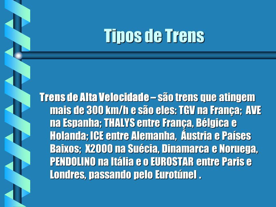 Tipos de Trens Trens de Alta Velocidade – são trens que atingem mais de 300 km/h e são eles: TGV na França; AVE na Espanha; THALYS entre França, Bélgi