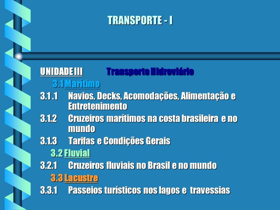 TRANSPORTE - I UNIDADE III Transporte Hidroviário 3.1 Marítimo 3.1 Marítimo 3.1.1Navios, Decks, Acomodações, Alimentação e Entretenimento 3.1.2Cruzeir