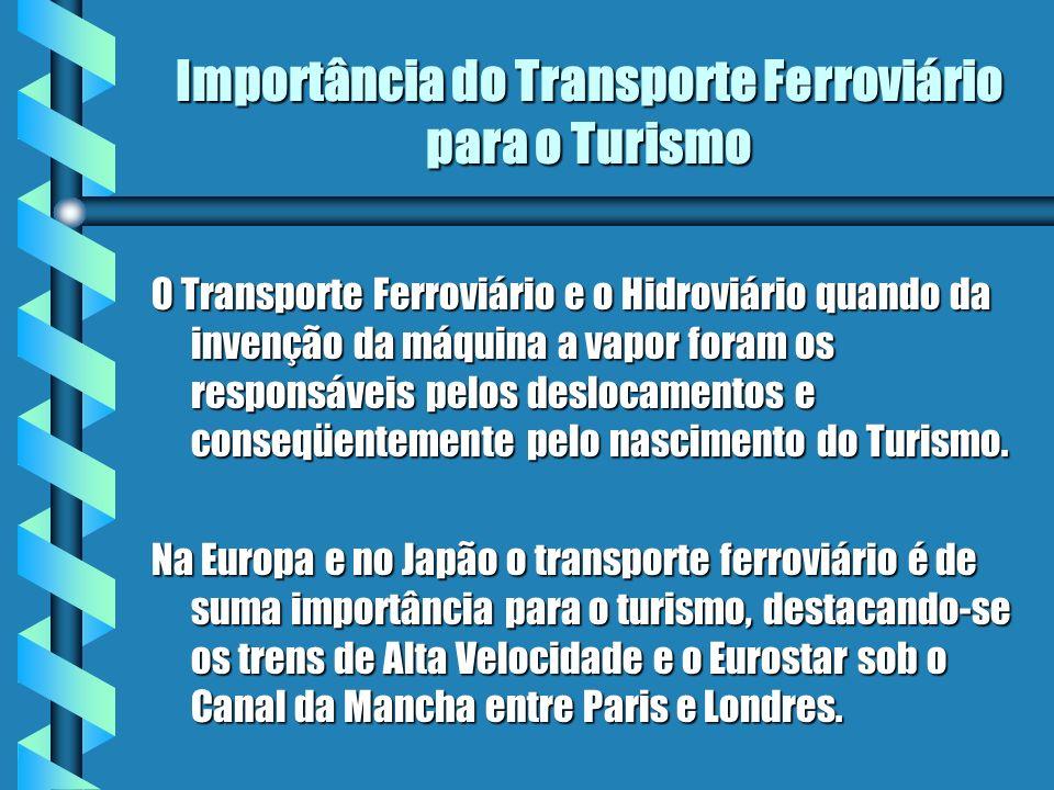 Importância do Transporte Ferroviário para o Turismo O Transporte Ferroviário e o Hidroviário quando da invenção da máquina a vapor foram os responsáv