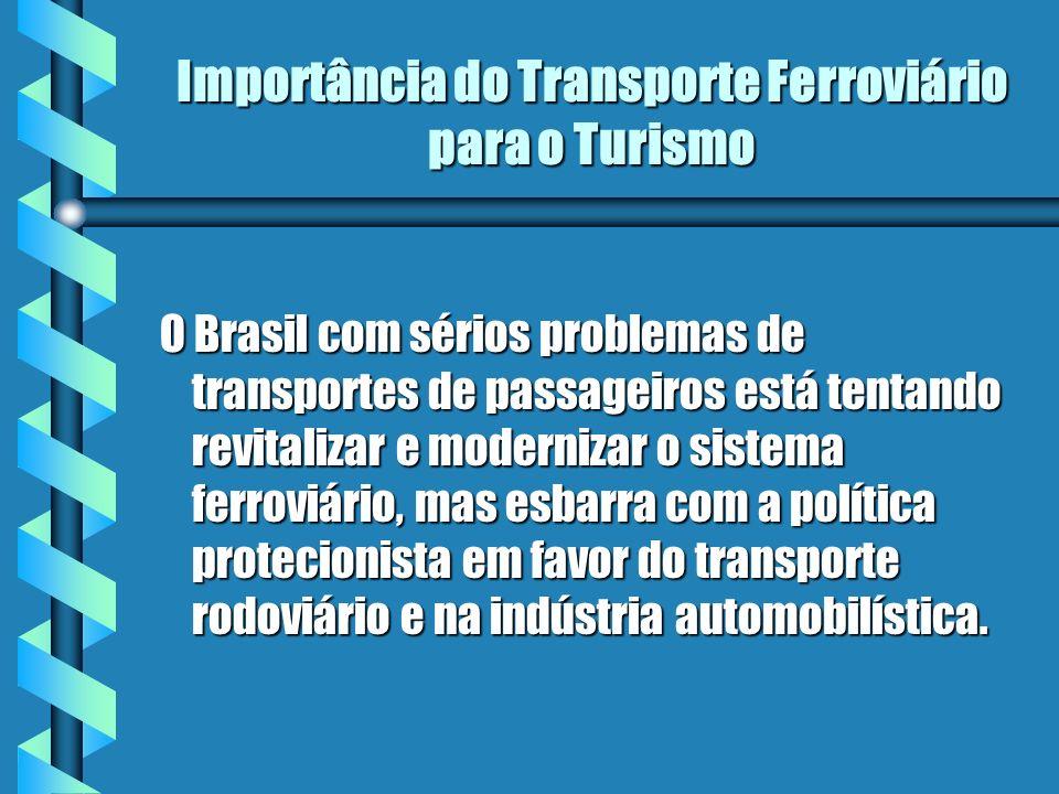 Importância do Transporte Ferroviário para o Turismo O Brasil com sérios problemas de transportes de passageiros está tentando revitalizar e moderniza
