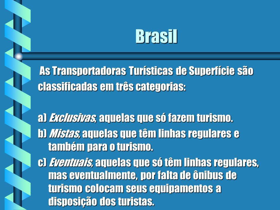 Brasil As Transportadoras Turísticas de Superfície são As Transportadoras Turísticas de Superfície são classificadas em três categorias: a) Exclusivas