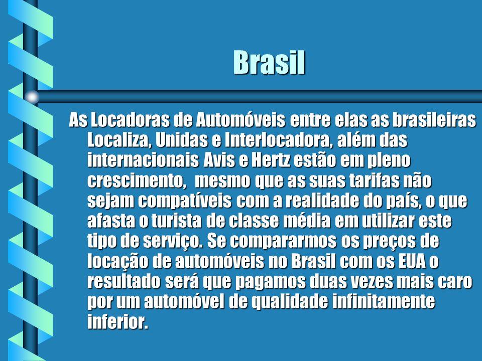 Brasil As Locadoras de Automóveis entre elas as brasileiras Localiza, Unidas e Interlocadora, além das internacionais Avis e Hertz estão em pleno cres
