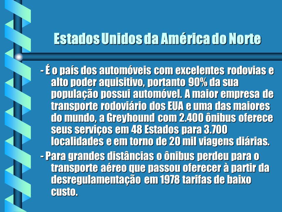 Estados Unidos da América do Norte - É o país dos automóveis com excelentes rodovias e alto poder aquisitivo, portanto 90% da sua população possui aut